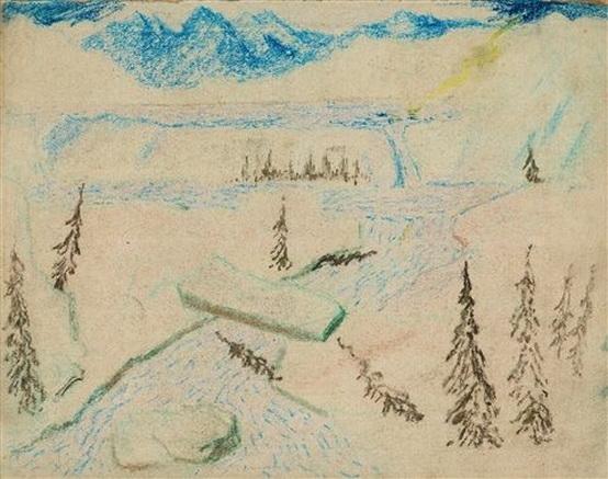 Carl Fredrik Hill - Flodlandskap med klippblock