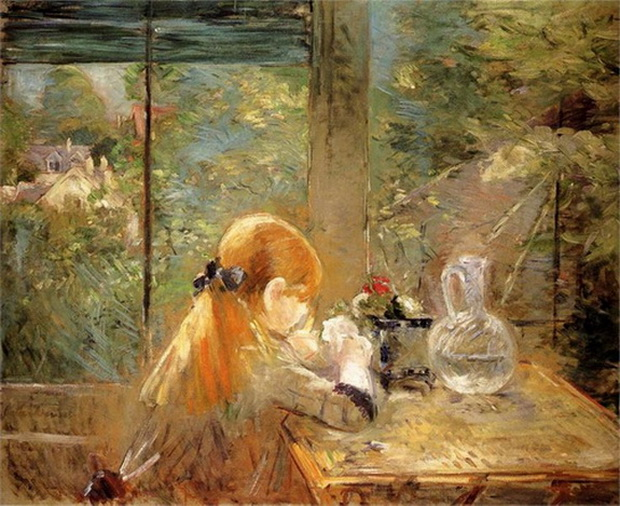 Berthe Morisot  Red haired girl sitting on a veranda. 1884.