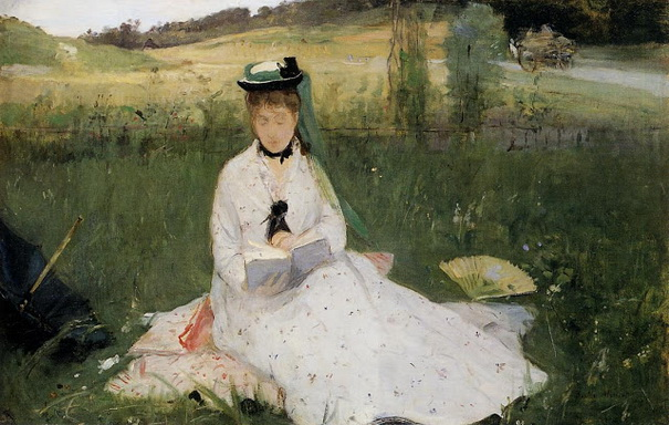 Berthe Morisot Reading with Green Umbrella oil on canvas