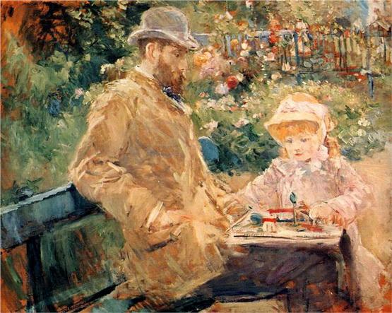 Berthe Morisot Эжен Мане с дочерью в Буживале