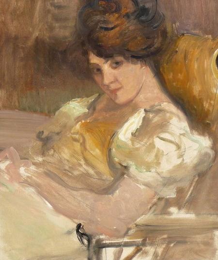 Albert de Belleroche -  Portrait of a lady reclining