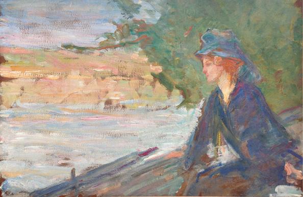 Albert de Belleroche - A Woman seated by a River