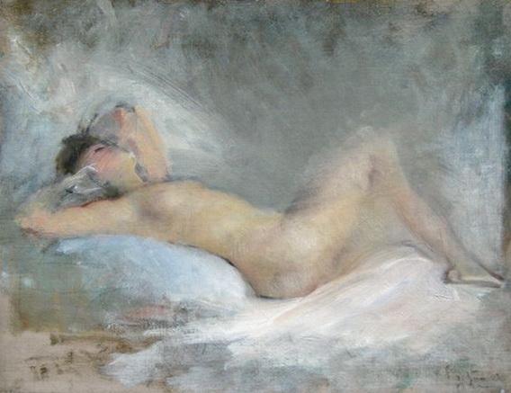 Albert de Belleroche - A Reclining Nude