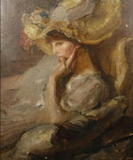 Albert de Belleroche - Woman with Yellow Hat
