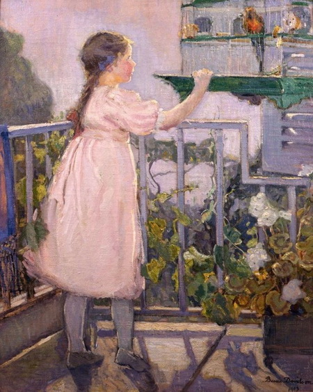 Bessie Davidson - Small Girl with a Parrot