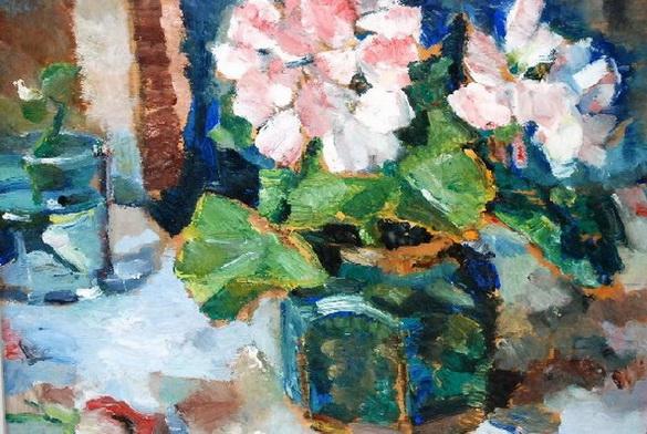 Bessie Davidson - Floral Still Life in Green Glazed