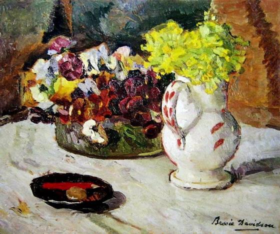Bessie Davidson -  Still life with pansies