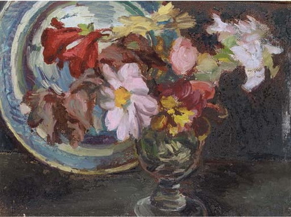 Duncan Grant  Still life with dahlias in a glass