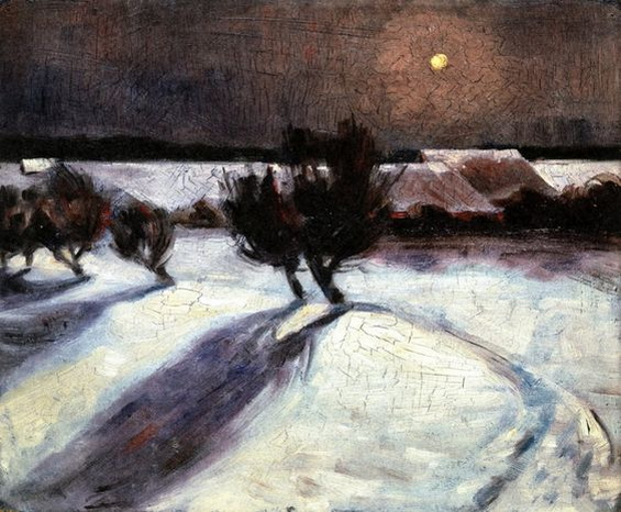 Max Beckmann -  Snow Landscape in the Moonlight