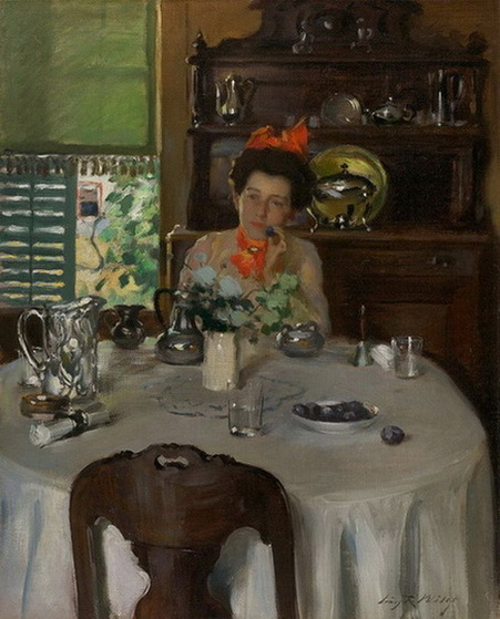 Irving Ramsey Wiles -  Woman at a Table