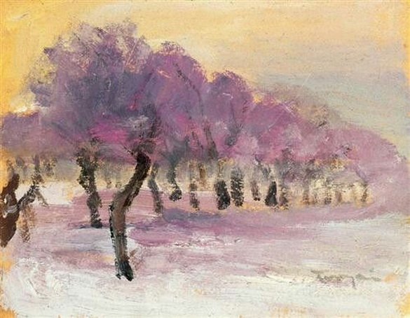 Janos Tornyai - Winter Landscape With Violet Lights