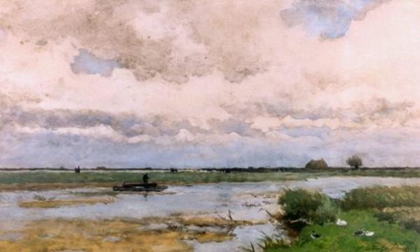 Johan Hendrik Weissenbruch -  A barge in a polder landscape