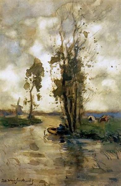 Johan Hendrik Weissenbruch - Fisherman in polder landscape