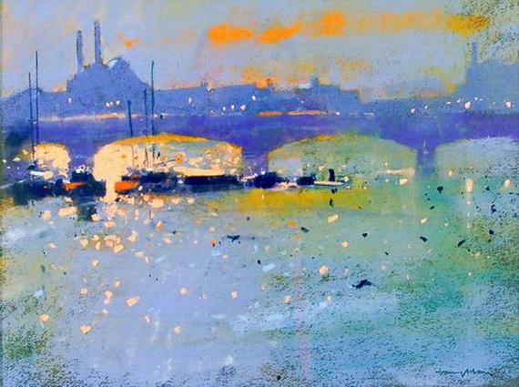 Tony Allain - Battersea Bridge at Sunset