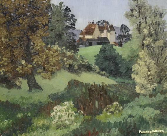 Cedric Morris - Landscape With Cottage