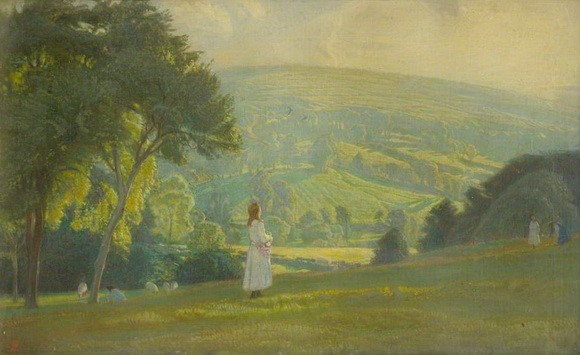 Charles March Gere - Landscape with Girl