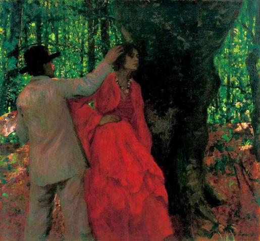 Karoly Ferenczy - Painter and Model in the Woods