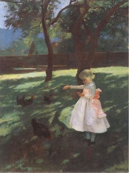 Karoly Ferenczy - Feeding The Chickens