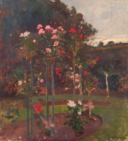 Benjamin Haughton - Standard Roses in a Garden