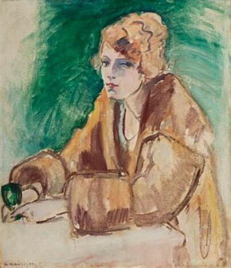 Arne Kavli - Hildur Monniche med vinglass