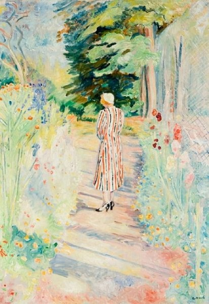 Arne Kavli - Fru Kavli i haven