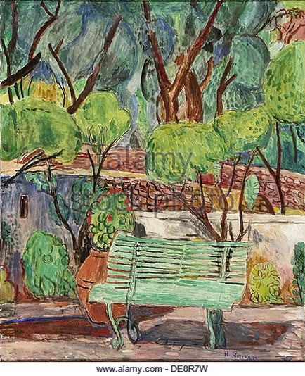 Hans Purrmann - Park Bench at Villa Le Lagore Court