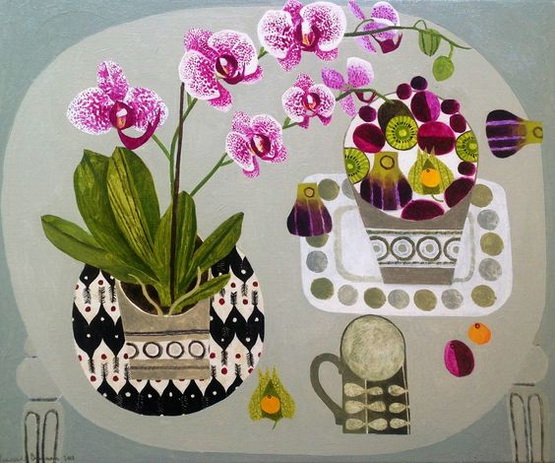 Vanessa Bowman - Enlarge Orchid On Grey Table