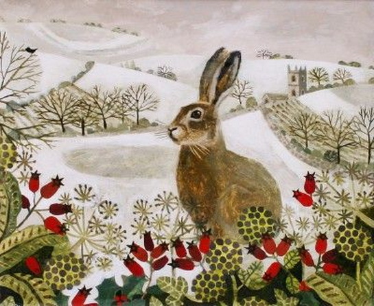 Vanessa Bowman - Seated Hare in the Snow