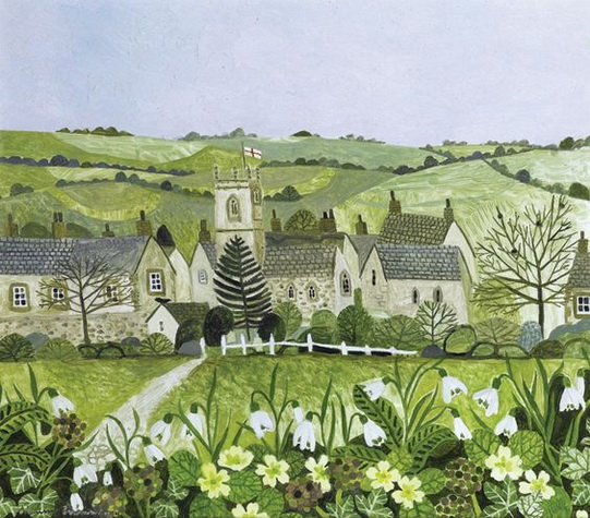 Vanessa Bowman -  Church Tower with snowdrops