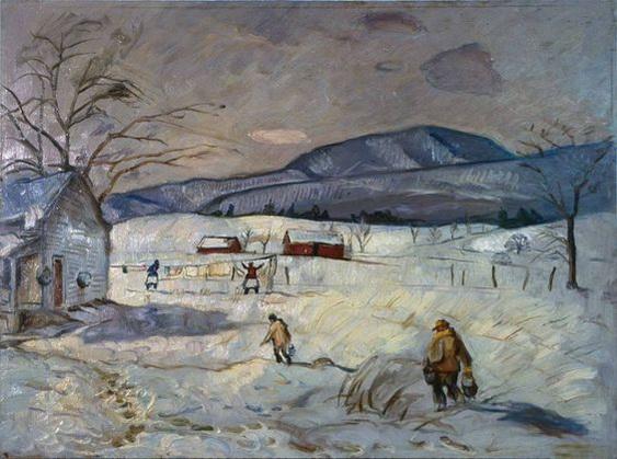 Pierre Daura - Snow, Hanging the Laundry