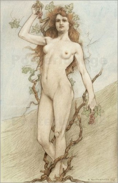 Armand Rassenfosse - Female nude with grapes