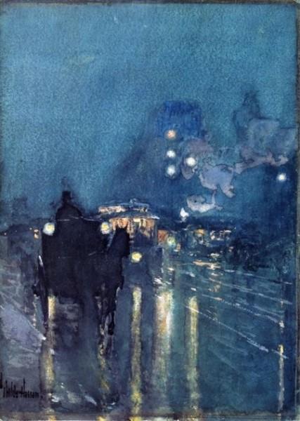Childe Hassam - Nocturne, Railway Crossing
