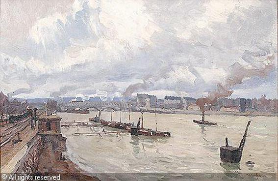 Jean Constant Raymond Renefer -  Les remorqueurs sur la Seine