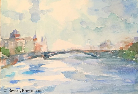 Beverly Brown  - A DREAMY VIEW OF THE SEINE IN BLUES AND GREENS