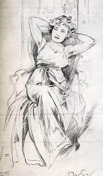 Alfons  Mucha -  drawing