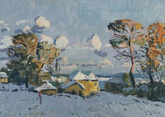 Andrew Tozer - Lower Treliever Farm under snowfall