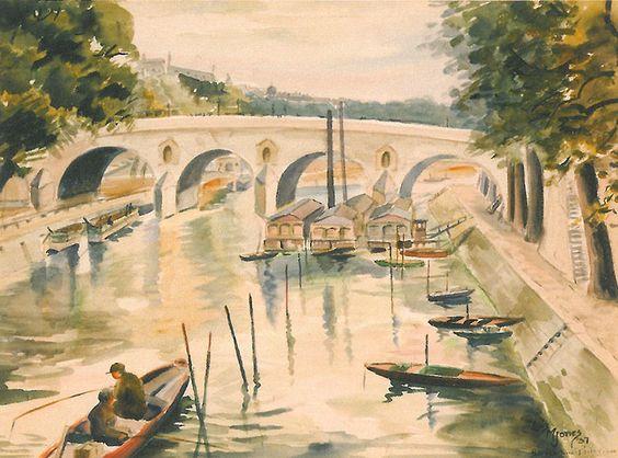 Lois Mailou Jones - Pecheurs sur la Seine, Paris 1937