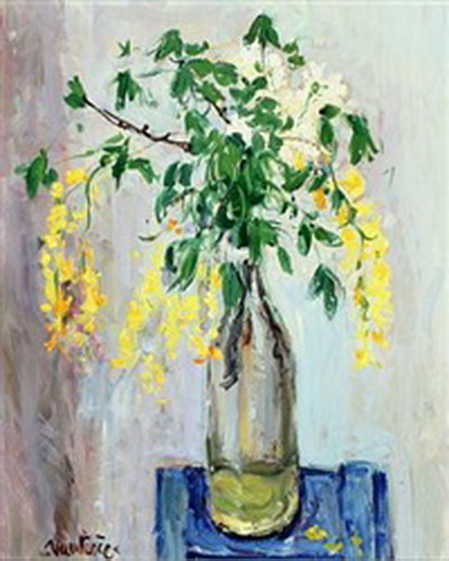Mogens Christian Vantore - still life with flowering branches in a bottle