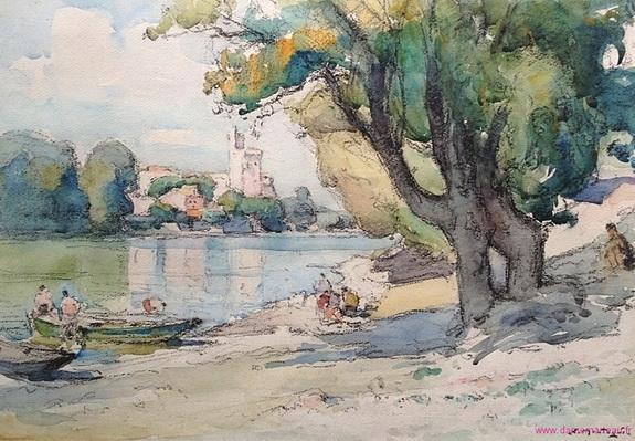 Agricol Louis Montagne - La baignade devant la Tour Philippe le Bel