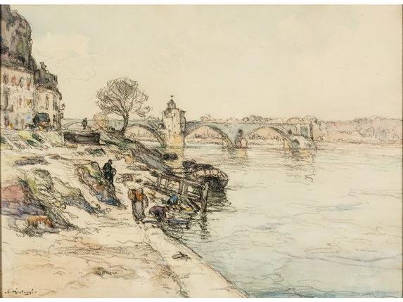 Agricol Louis Montagne -   Le pont d'Avignon