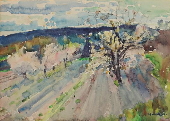 Agricol Louis Montagne -  Le printemps sur la route des Angles