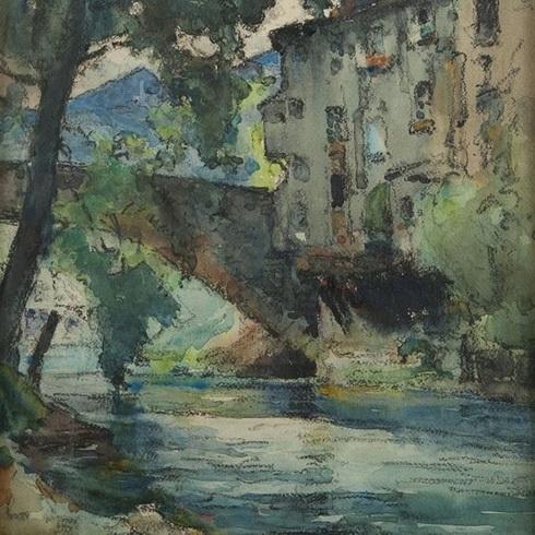 Agricol Louis Montagne -  Paysage au vieux pont