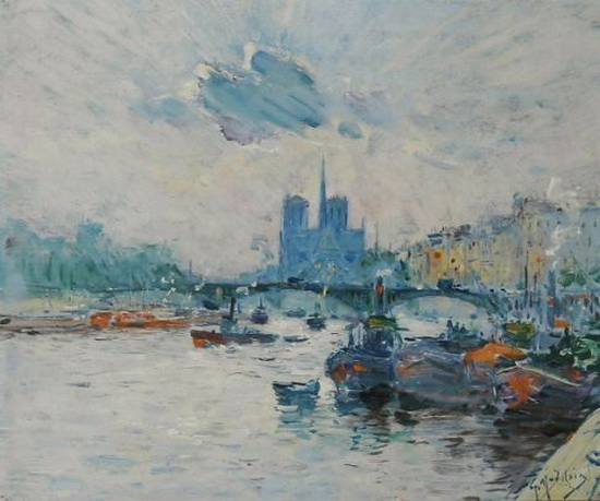 Gustave Madelain - View of Notre-Dame and the Pont de