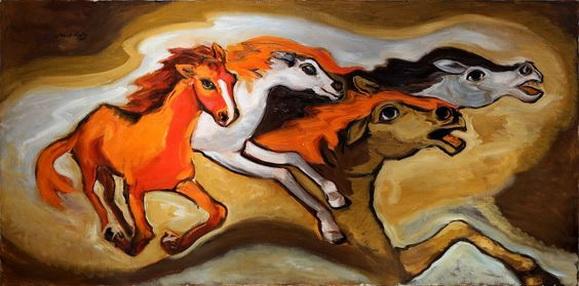 Emmanuel Mane-Katz - Cavalos Selvagens