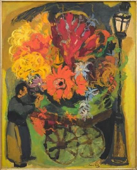 Emmanuel Mane-Katz - Flower Cart near a Street Lamp