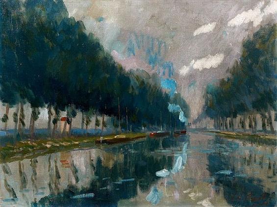 Elie Anatole Pavil - CANAL Huile sur toile