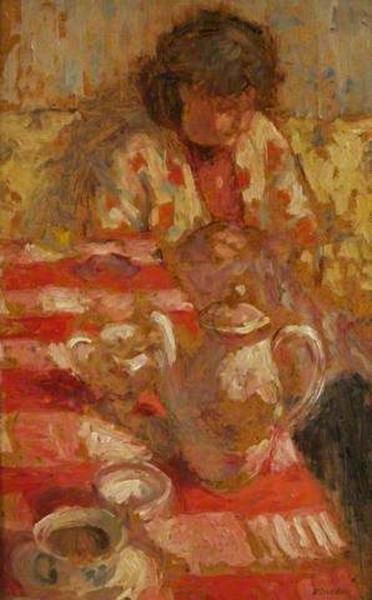 Bernard Dunstan - red tablecloth