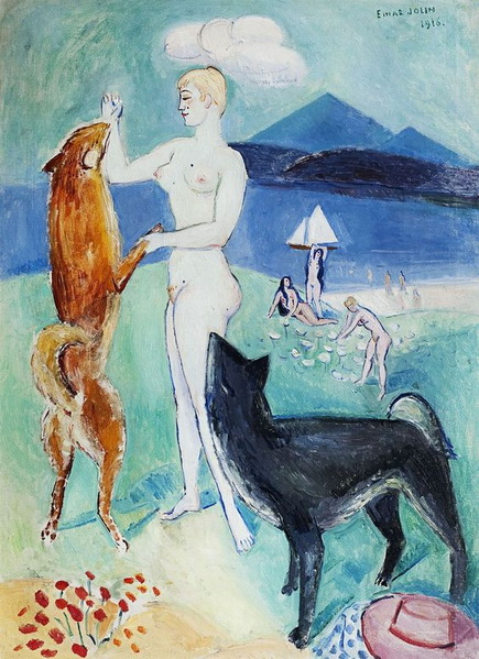 Einar Jolin - Model with dog