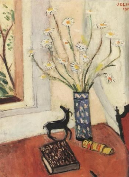 Einar Jolin - Still Life of Book and Daisies