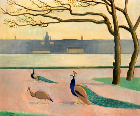 Einar Jolin - View of Stockholm with Peacocks